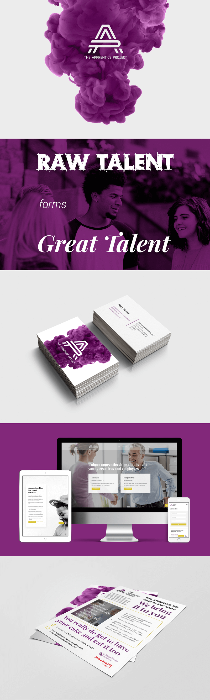 Apprentice Project AP logo on ink cloud - Raw Talent forms Great Talent - business card mockups, website mockups and flyer mockups