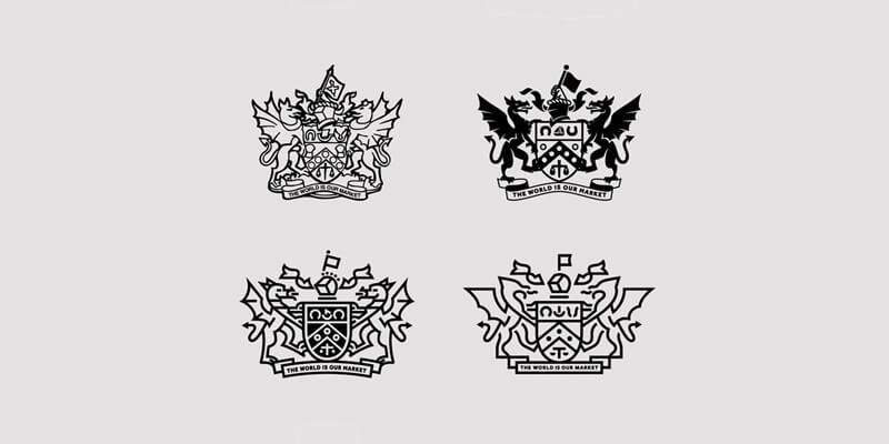 minimal heraldic logo design