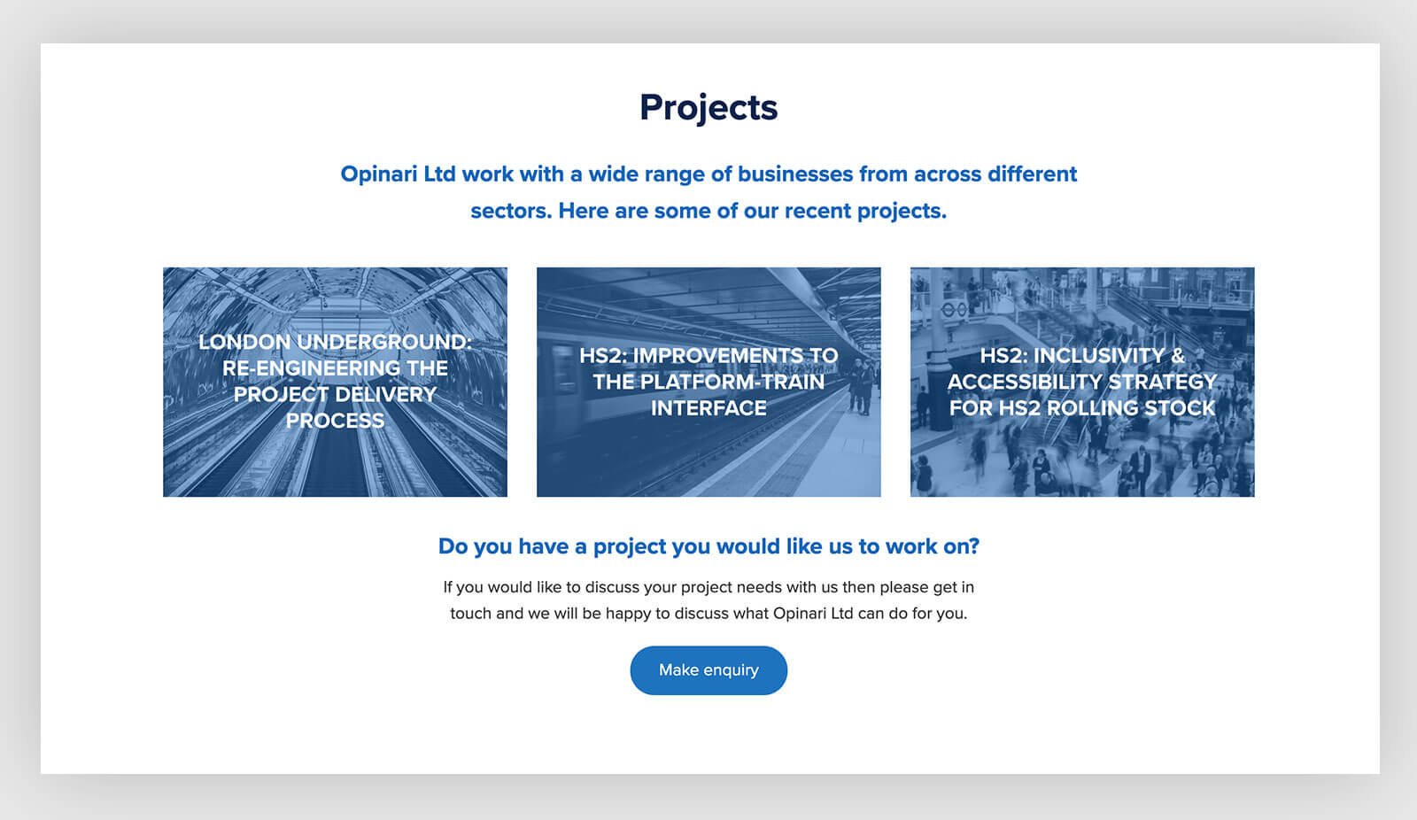 projects page template design